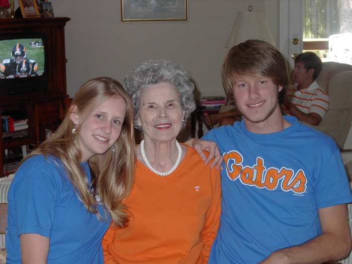 Elizabeth and James in Gator T with Grandma photo by Kathy Miller