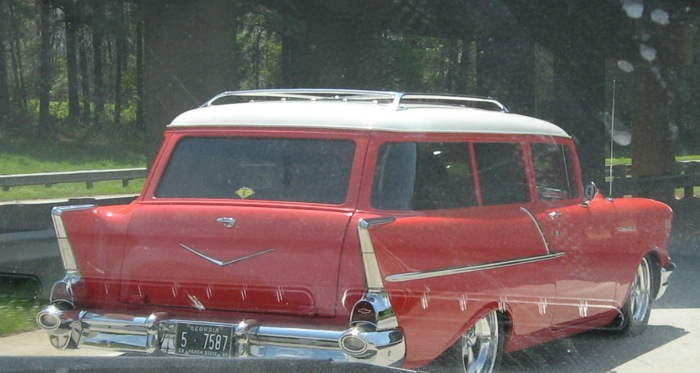 '57 Chevy station wagon red and white Georgia photo by Kathy Miller