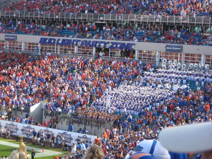 Orange and Blue side of Florida/Georgia game Gator Band photo by Kathy Miller