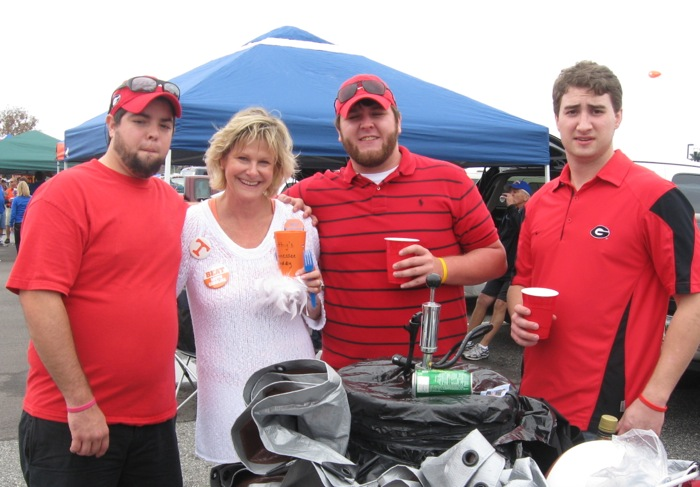 Georgia fans with traveling keg Tennessee fan photo by Kathy Miller