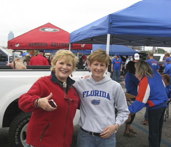 Florida Clara and Georgia Trish Florida-Georgia game photo by Kathy Miller