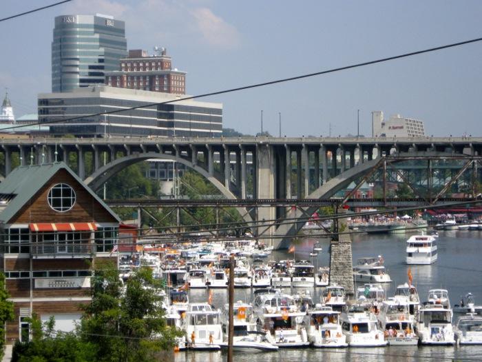 The Vol Navy, Lady Vols Boathouse, Henley Street Bridge, Knoxville skyline photo by Kathy Miller