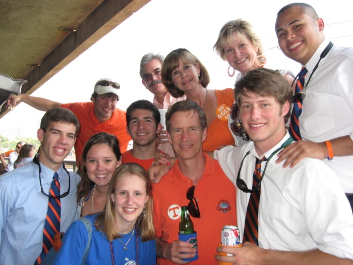 UT friends and Gator friends tailgate together in Knoxville on the Tennessee River photo by Kathy Miller