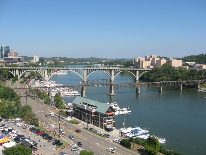 Tennessee River, Knoxville skyline, bridges photo by Kathy Miller