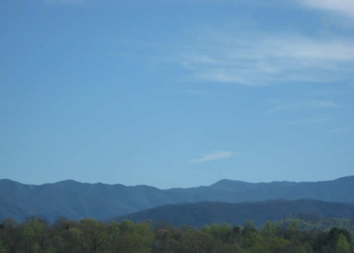 Smoky Mountains view from Neyland Knoxville, photo by Kathy Miller