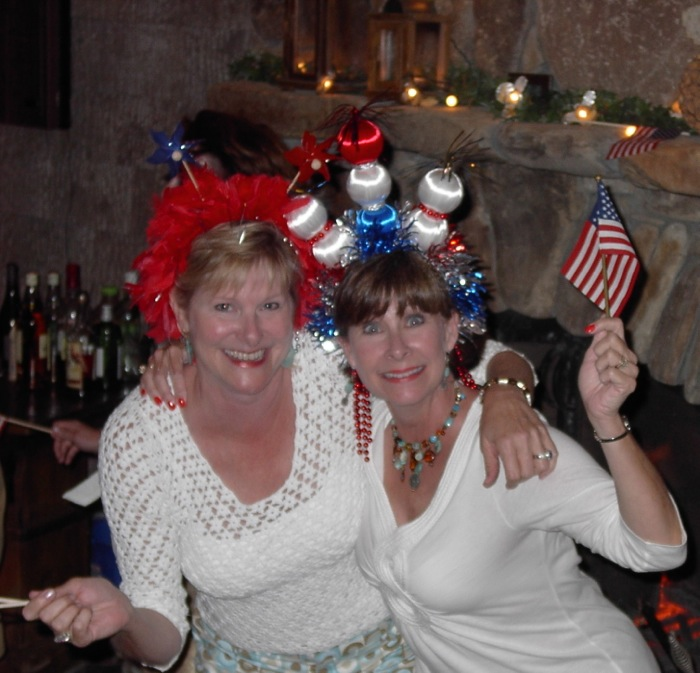 Kathy & Robin in 4th of July hats photo by Kathy Miller