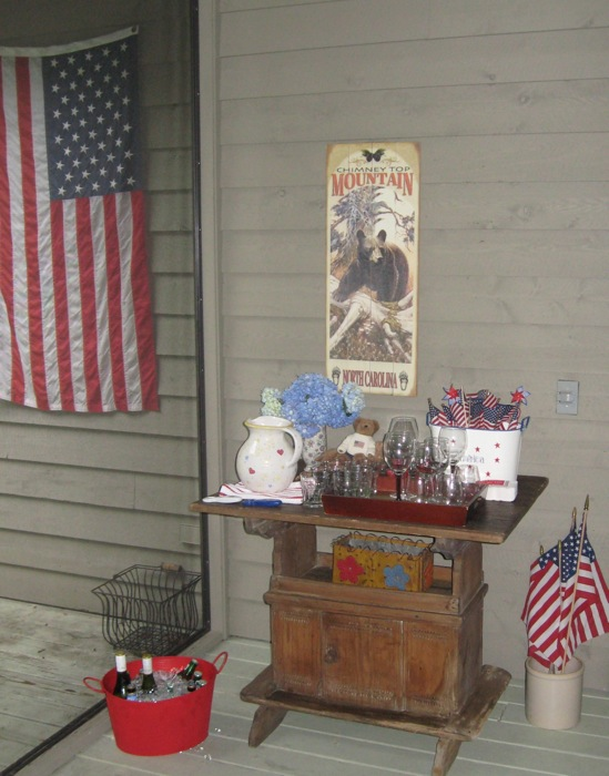 4th of July Bar setup with American flag photo by Kathy Miller