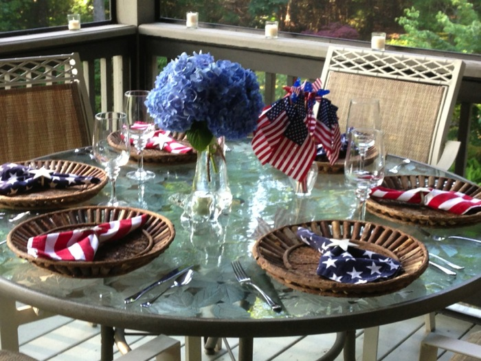 4th of July table setting photo by Kathy Miller