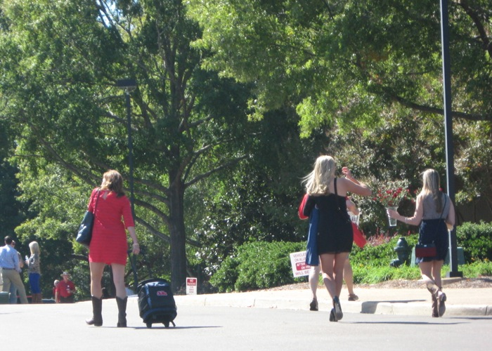 Girls going to The Grove to tailgate photo by Kathy Miller