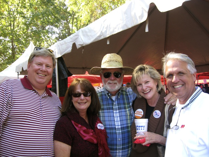 Ken Yarborough an avid Alabama fan, with Joanne, Hank and Kathy The Grove Alabama and Ole Miss game photo by Kathy Miller