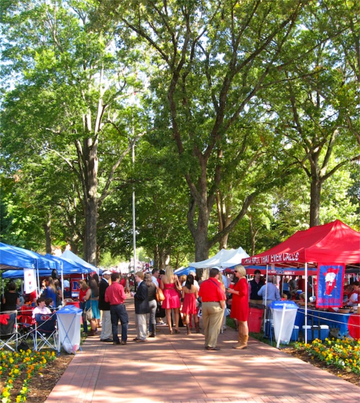 Ole Miss sea of tents tailgating in The Grove photo by Kathy Miller