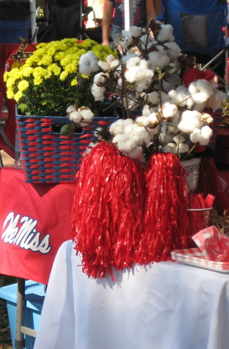 Ole Miss tailgating with cotton arrangements photo by Kathy Miller
