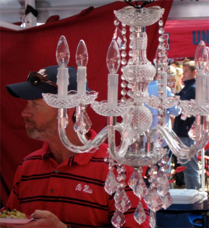 Chandelier at Ole Miss tailgate photo by Kathy Miller