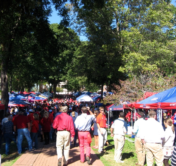 Sea of red & blue tents at Ole Miss The Grove guys in khakis photo by Kathy Miller
