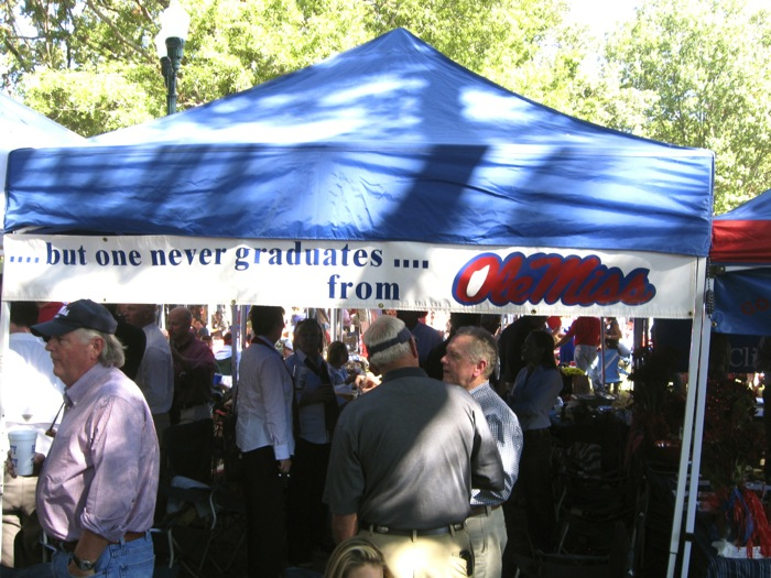 ...but one never graduates....from Ole Miss tailgating tent photo by Kathy Miller