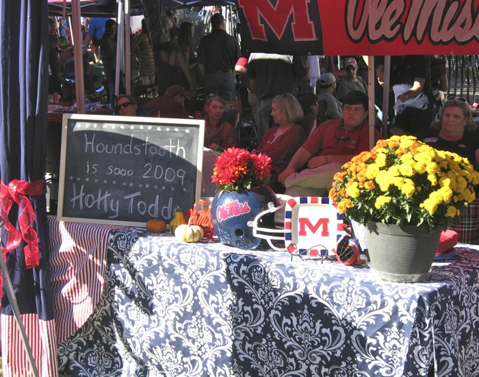 Tailgating tables with drapes at Ole Miss photo by Kathy Miller