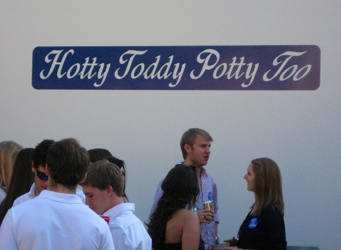 Hotty Toddy Potty Too portalet at Ole Miss in the Grove photo by Kathy Miller