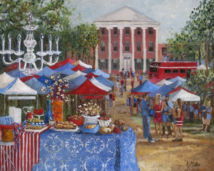 Tailgating In The Grove Painting Oxford Mississippi, Ole Miss The Lyceum painting by Kathy Miller