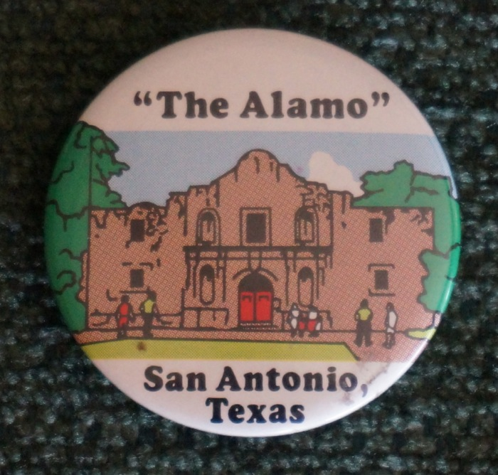 The Alamo button from my extensive button collection photo by Kathy Miller