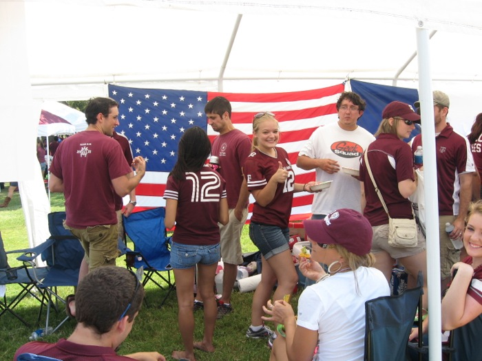 Love this Aggie Tailgate with American flag photo by Kathy Miller