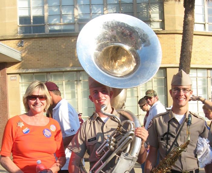 Kathy & The Tuba Player Texas A&M photo by Kathy Miller