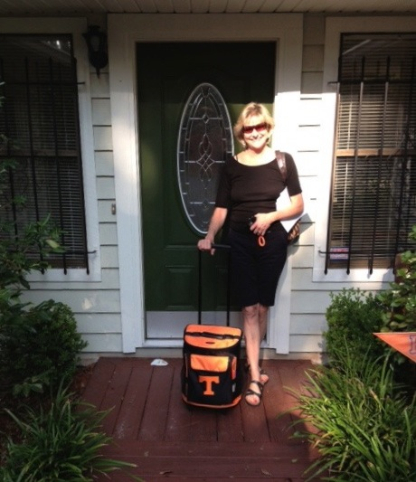 Kathy & her Big Orange, Tennessee rolling cooler photo by Kathy Miller