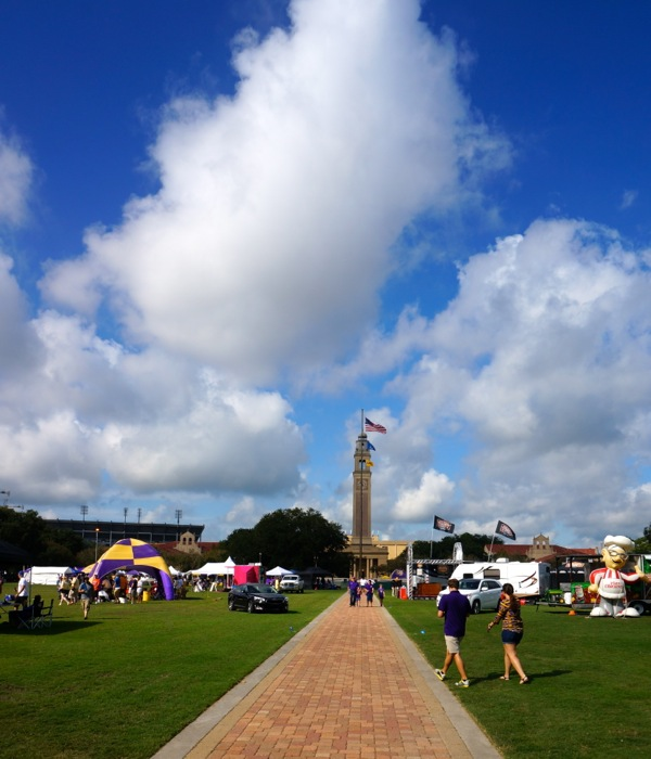 Memorial Tower and Parade Grounds LSU Baton Rouge LA photo by Kathy Miller