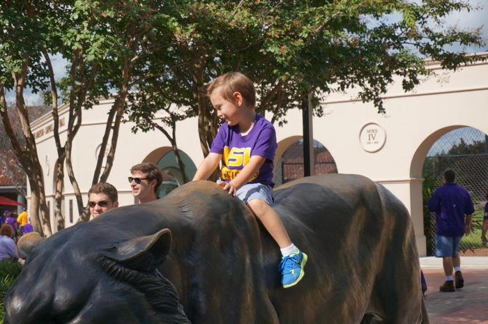 Riding Mike the Tiger at LSU photo y Kathy Miller