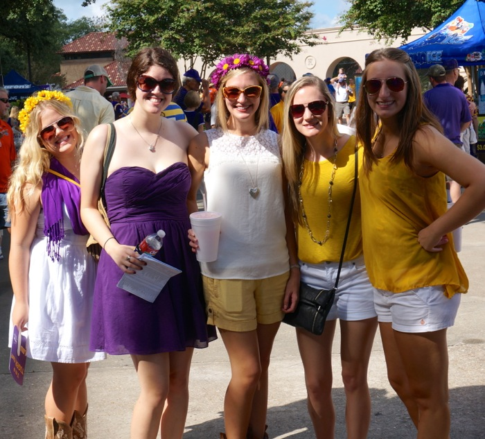 LSU girls all decked out with their dresses and hair photo by Kathy Miller