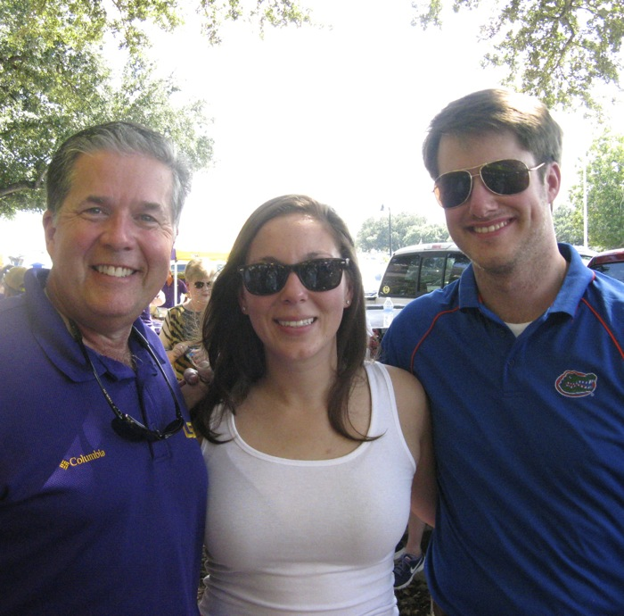 Allen, Rachel & James LSU fan & Gators together photo by Kathy Miller