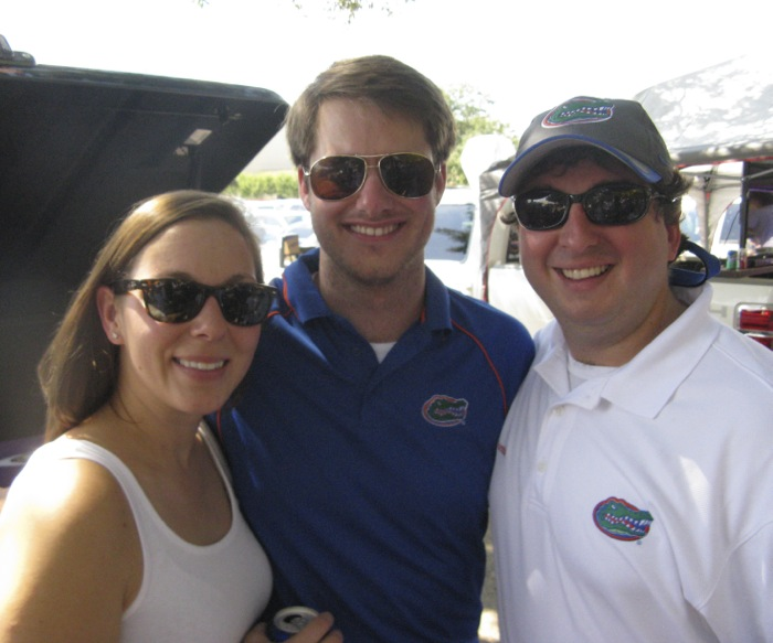 Rachel, James & Billy at LSU tailgate photo by Kathy Miller