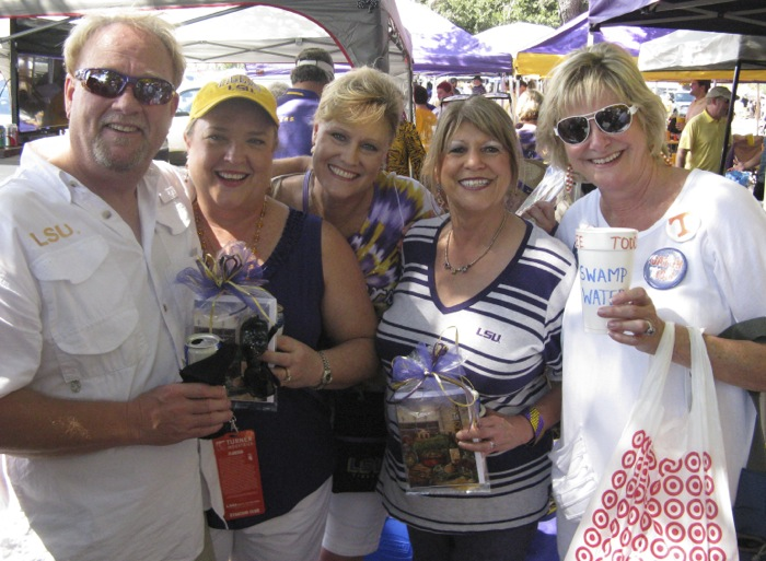 Billy, Nancy, Charla and Brenda with Kathy at LSU tailgate photo by Kathy Miller