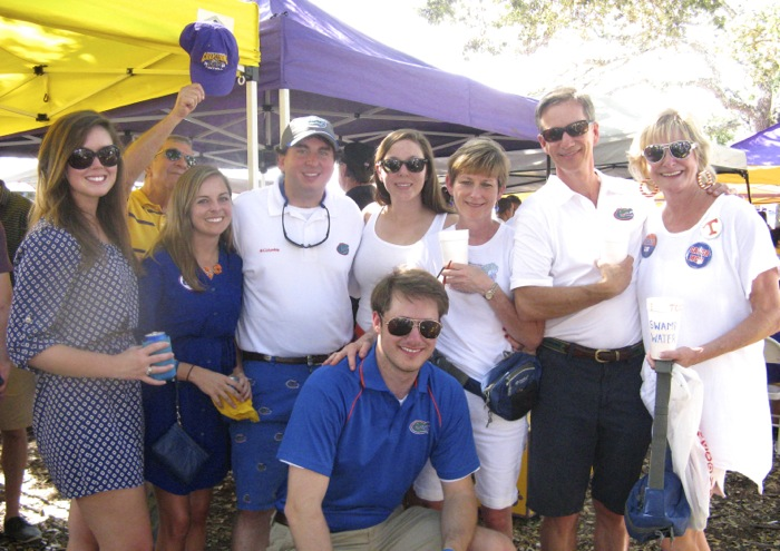 Our Gator group with LSU tailgate photo by Kathy Miller