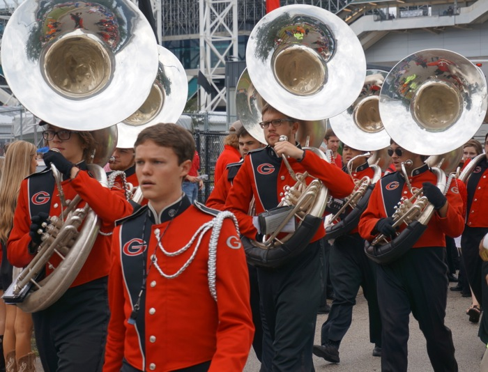 Georgia Redcoat Marching Band Tuba players photo by Kathy Miller