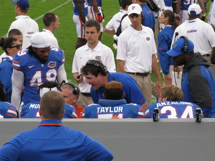 Muschamp trying to inspire his players photo by Kathy Miller