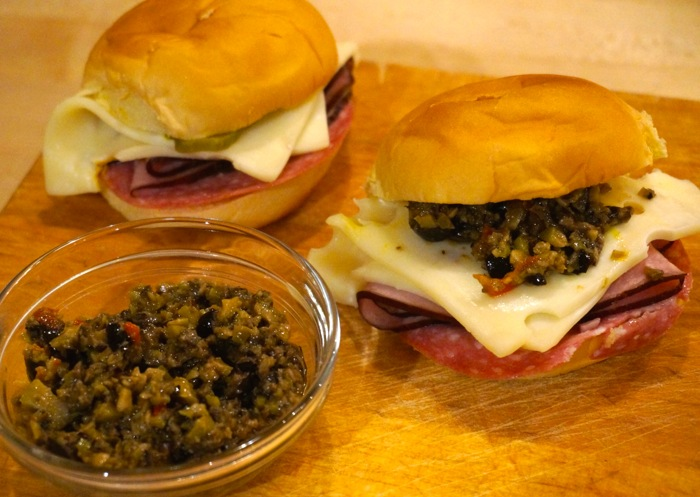 Muffuletta Sliders with olive salad photo by Kathy Miller