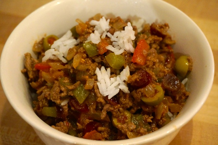 Louisianan Picadillo with rice photo by Kathy Miller