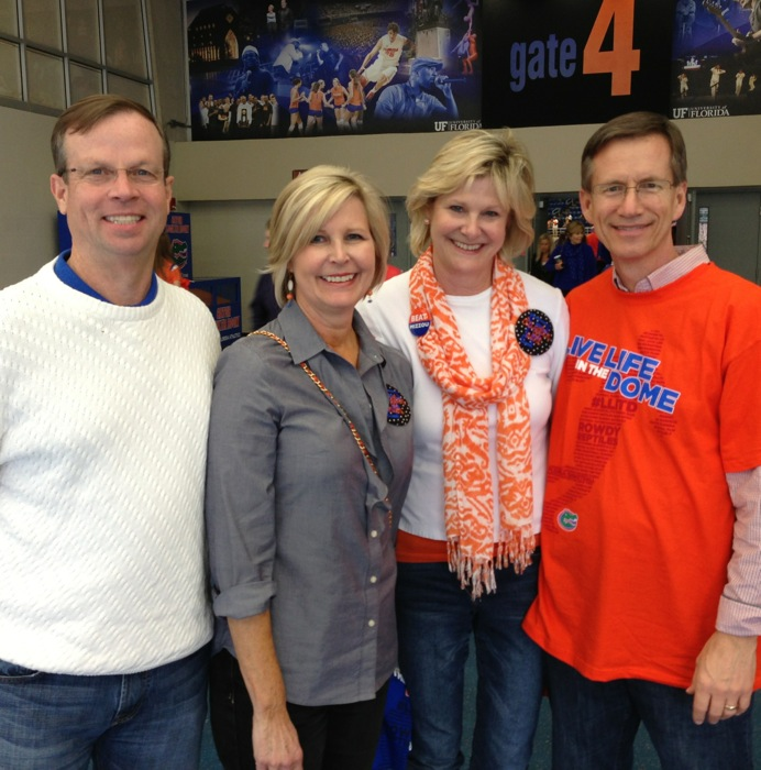 Joe & Lucy Hawkins, Kathy & Dave Miller at Gator Basketball Game photo by Kathy Miller
