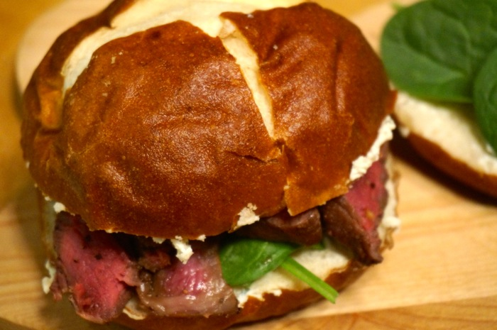 Grilled Beef Tenderloin with Boursin Cheese and Spinach on Pretzel Roll photo by Kathy Miller