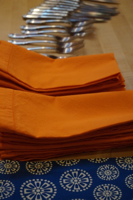 Orange and Blue napkins photo by Kathy Miller