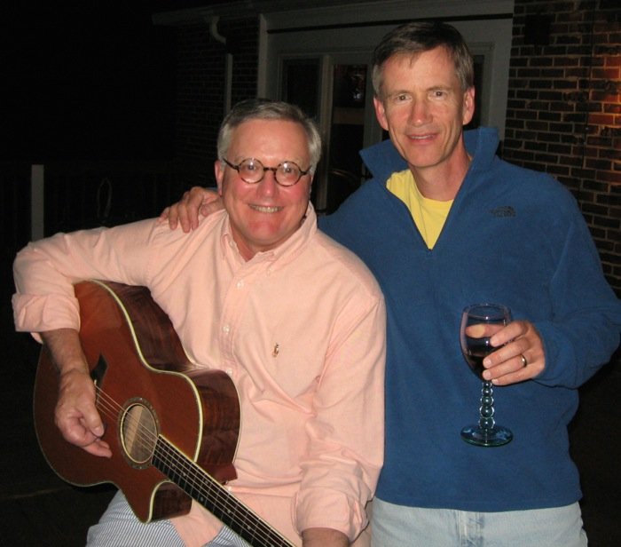 Robert & Dave celebrate the first day of the Masters photo by Kathy Miller