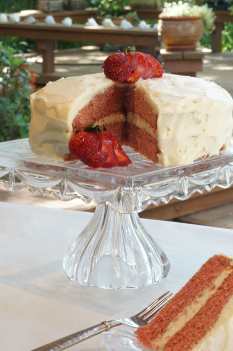 Mother's Day Strawberry Cake with slice photo by Kathy Miller