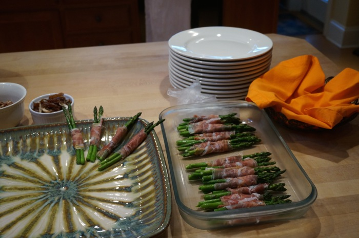 Prosciutto wrapped asparagus spears photo by Kathy Miller