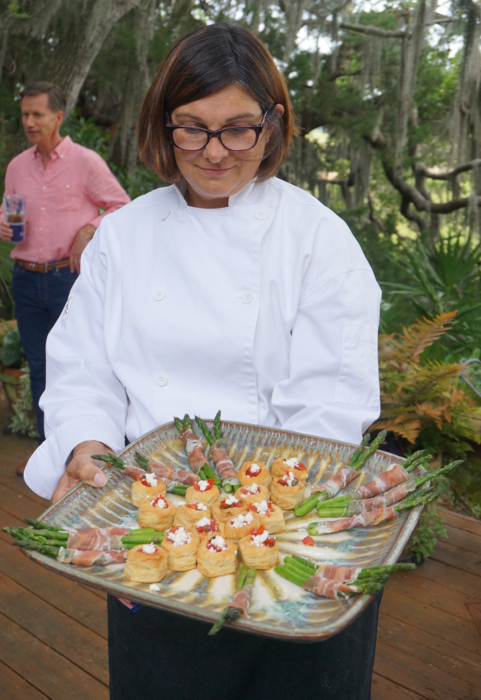 Karen serves the appetizers photo by Kathy Miller