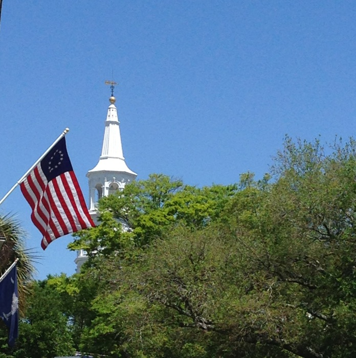 St. Michael's Steeple Charleston SC with American Flag photo by Kathy Miller