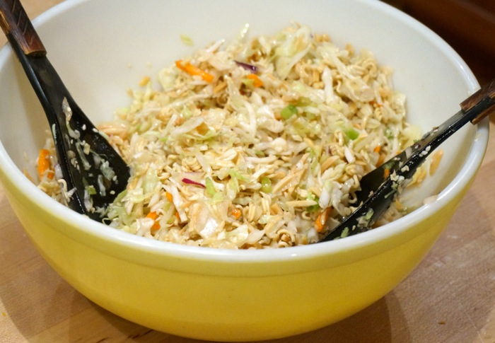 Oriental slaw from Joy McCabe in vintage yellow mixing bowl photo by Kathy Miller