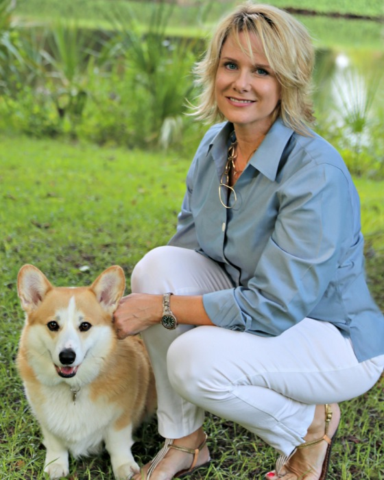 Susan Scarborough with her dog photo by Susan Scarborough