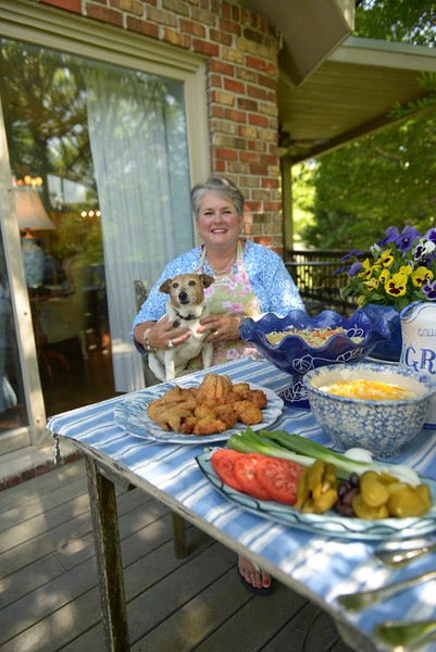 food 2014 Catfish Fry outside table with Joy and Dixie