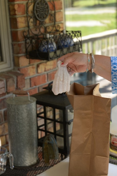 Catfish filets floured in paper sack photo by Frank Cobb Photography
