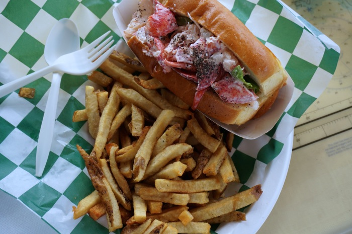 Lobster roll from Beal's Lobster Pier Southwest Harbor Mt. Desert Island Maine  photo by Kathy Miller